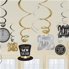 Metallic New Year Hanging Swirl Decorations