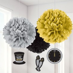 Metallic New Year's Eve Pom Pom Decorations - 40cm