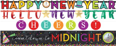 Colourful New Year Banners Set