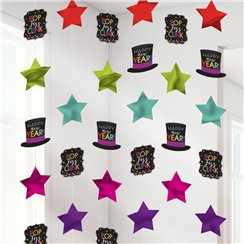 Colourful New Year String Decorations - 2m