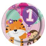 One is Fun Girl Plates - 23cm Paper Party Plates