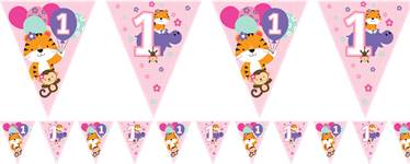 One Is Fun Girl Paper Flag Bunting - 3.7m