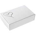 Contemporary Heart White/Silver Wedding Cake Boxes