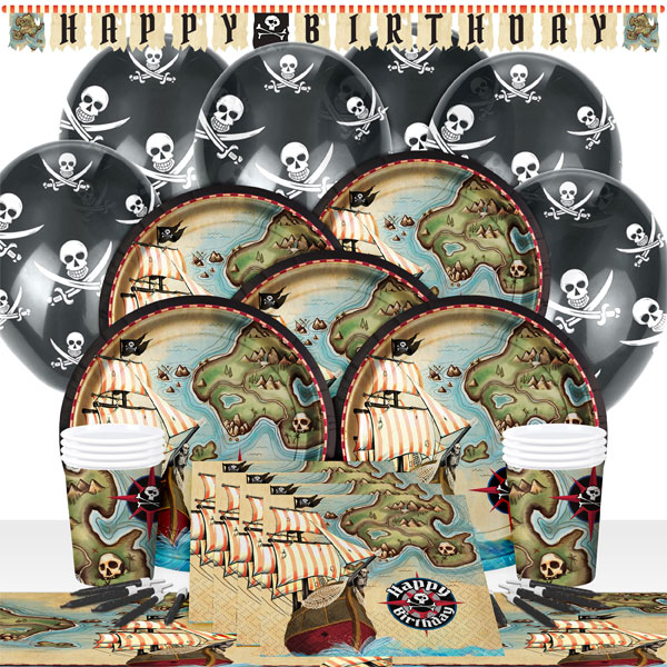 Pirate-Map-Birthday-Party-Pack-Tableware-Kits-For- & Pirate Map Birthday Party Pack Tableware Kits - For 8 or 16 Guests ...