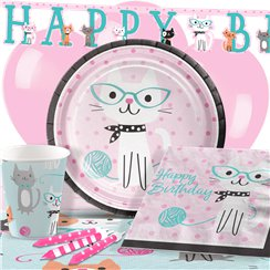 Purr-Fect Happy Birthday Party Pack - Deluxe Pack for 8