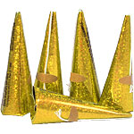 Holographic Gold Cone Party Poppers