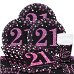 Pink Celebration 21st Birthday Party Pack - Value Pack For 8
