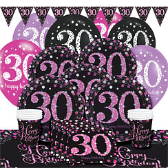 Pink celebration 30th birthday party supplies party delights for 30th birthday decoration packs