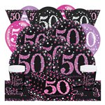 Pink Celebration 50th Birthday Party Pack - Deluxe Party Pack For 8