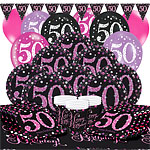 Pink Celebration 50th Birthday Party Pack - Deluxe Party Pack For 16
