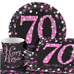 Pink Celebration 70th Birthday Value Party Pack - Value Pack For 8