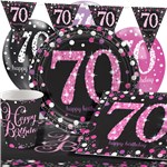 Pink Celebration 70th Birthday Value Party Pack - Deluxe Pack for 8