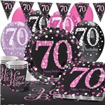 Pink Celebration 70th Birthday Value Party Pack - Deluxe Pack for 16