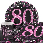 Pink Celebration 80th Birthday Party Pack - Value Pack For 8