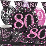 Pink Celebration 80th Birthday Party Pack - Deluxe Pack for 8