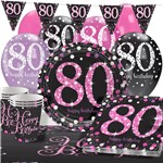 Pink Celebration 80th Birthday Party Pack - Deluxe Pack for 16