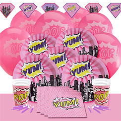 Pink Pop Art Superhero Party Pack - Deluxe Pack for 8