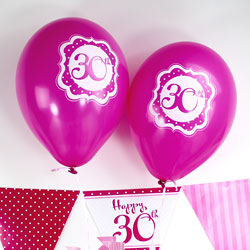 Perfectly Pink Happy 30th Birthday Balloons - 10