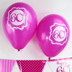 "Perfectly Pink Happy 60th Birthday Balloons - 10"" Latex"
