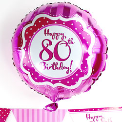 Perfectly Pink Happy 80th Birthday Balloon