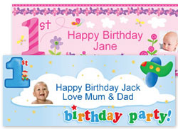 Personalised Girls First 1st Happy Birthday Party Poster Banner N128 One Perfect Year A3 29 7cm X 42cm Amazon Co Uk Toys Games