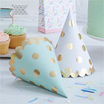 Pick & Mix Metallic Polka Dot Cone Party Hats - 17cm