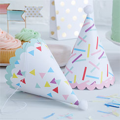 Pick & Mix Sprinkles Cone Party Hats - 17cm