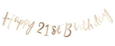 Pick & Mix Happy 21st Birthday Gold Letter Bunting - 1.5m