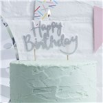 Pick & Mix Silver Glitter Happy Birthday Candle - 10cm