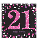 Pink Celebration Age 21 Lunch Napkins - 2ply Paper