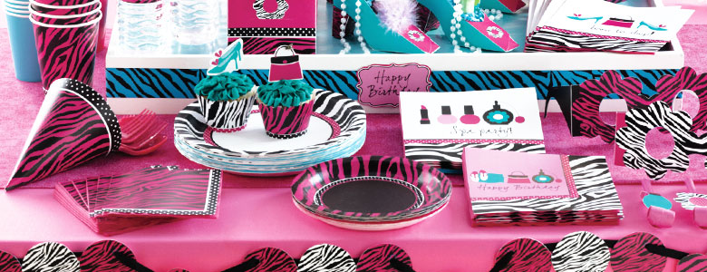 ... ** Pink ZEBRA Birthday Sleepover Spa Party Supplies & Decorations