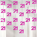 21st Birthday Hot Pink Hanging String Decoration - 2m
