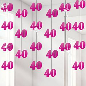 40th pink string decoration for 40th birthday decoration packs