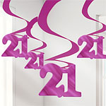 21st Birthday Pink Hanging Swirl Decorations - 61cm