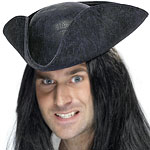 Pirate Hat - Distressed Black Fancy Dress
