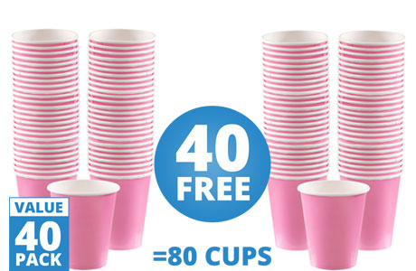 Baby Pink Cups - 340ml Paper Coffee Cups