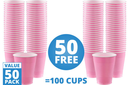Baby Pink Cups - 473ml Plastic Party Cups