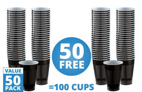 Black Cups - 355ml Plastic Party Cups
