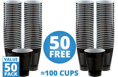 Black Cups - 473ml Plastic Party Cups