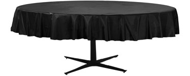Black Round Tablecover - Plastic - 2.1m