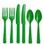 Green Plastic Cutlery - Assorted Party Pack