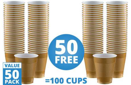 Gold Cups - 473ml Plastic Party Cups