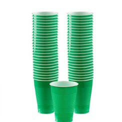 Green Cups - 355ml Plastic Party Cups