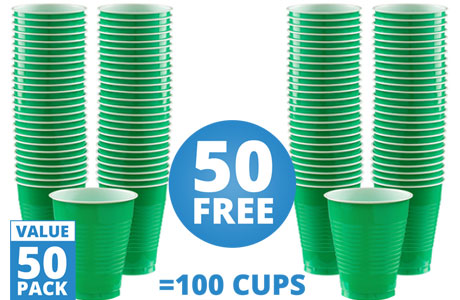 Green Cups - 473ml Plastic Party Cups