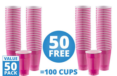 Hot Pink Cups - 355ml Plastic Party Cups