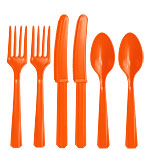 Orange Plastic Cutlery - Assorted Party Pack