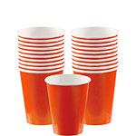 Orange Cups - 266ml Paper Party Cups