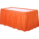 Orange Plastic Tableskirt - 73cm x 4.2m