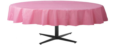 Baby Pink Round Tablecover - Plastic - 86cm x 2.1m