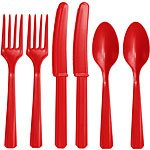 Red Plastic Cutlery - Assorted Party Pack